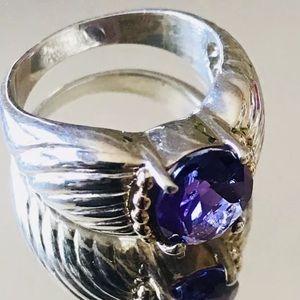 Jewelry - Brutalist Silver w/amethyst Ring